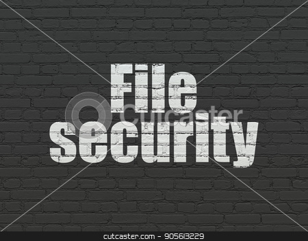 Protection concept: File Security on wall background stock photo, Protection concept: Painted white text File Security on Black Brick wall background by mkabakov
