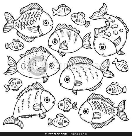 Fish drawings theme image 1 stock vector clipart, Fish drawings theme image 1 - eps10 vector illustration. by Klara Viskova
