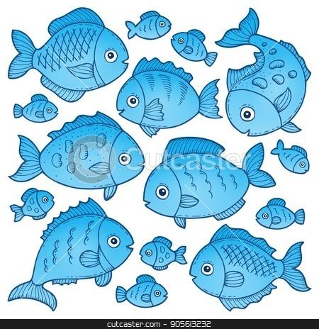 Fish drawings theme image 2 stock vector clipart, Fish drawings theme image 2 - eps10 vector illustration. by Klara Viskova
