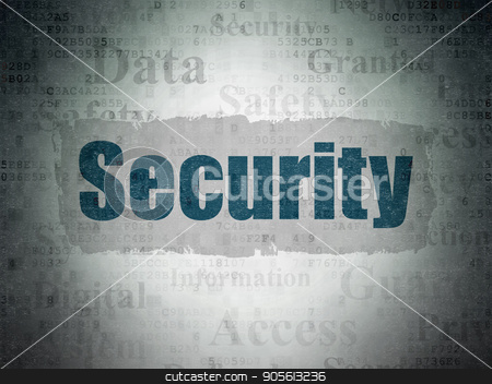 Protection concept: Security on Digital Data Paper background stock photo, Protection concept: Painted blue text Security on Digital Data Paper background with   Tag Cloud by mkabakov