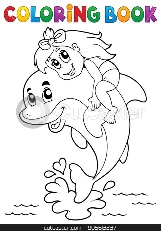 Coloring book girl sitting on dolphin stock vector clipart, Coloring book girl sitting on dolphin - eps10 vector illustration. by Klara Viskova