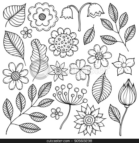 Drawings of flowers and leaves theme 1 stock vector clipart, Drawings of flowers and leaves theme 1 - eps10 vector illustration. by Klara Viskova