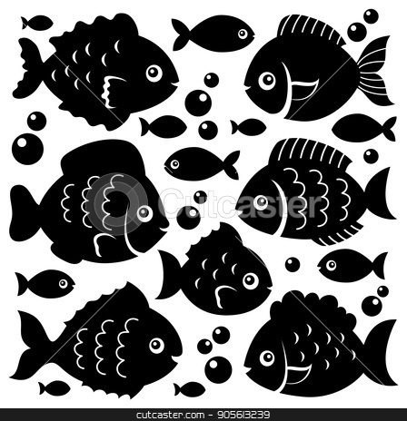 Fish silhouettes theme set 1 stock vector clipart, Fish silhouettes theme set 1 - eps10 vector illustration. by Klara Viskova