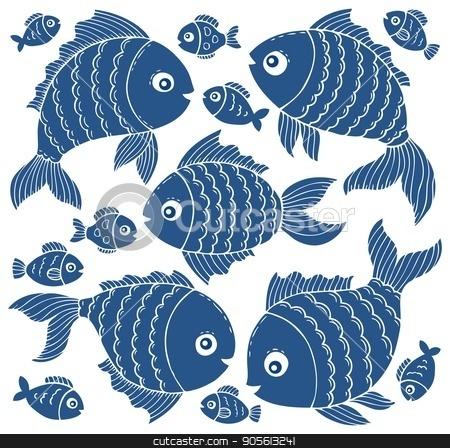 Fish silhouettes theme set 3 stock vector clipart, Fish silhouettes theme set 3 - eps10 vector illustration. by Klara Viskova