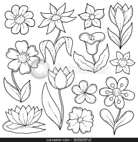 Flower drawings thematic set 1 stock vector clipart, Flower drawings thematic set 1 - eps10 vector illustration. by Klara Viskova