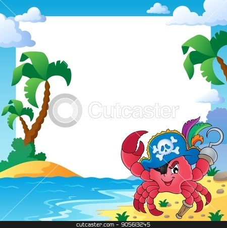 Frame with pirate crab stock vector clipart, Frame with pirate crab - eps10 vector illustration. by Klara Viskova