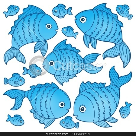 Fish drawings theme image 4 stock vector clipart, Fish drawings theme image 4 - eps10 vector illustration. by Klara Viskova