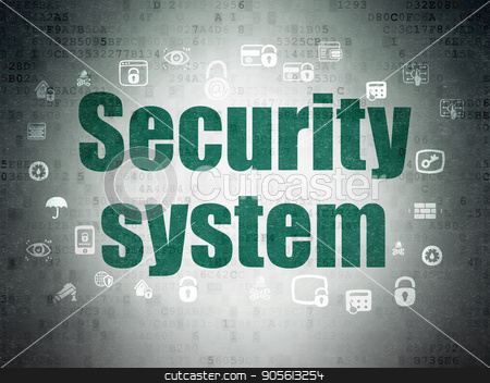 Security concept: Security System on Digital Data Paper background stock photo, Security concept: Painted green text Security System on Digital Data Paper background with  Hand Drawn Security Icons by mkabakov