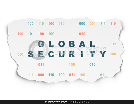 Protection concept: Global Security on Torn Paper background stock photo, Protection concept: Painted blue text Global Security on Torn Paper background with  Binary Code by mkabakov