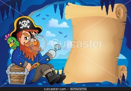 Parchment in pirate cave image 6 stock vector clipart, Parchment in pirate cave image 6 - eps10 vector illustration. by Klara Viskova