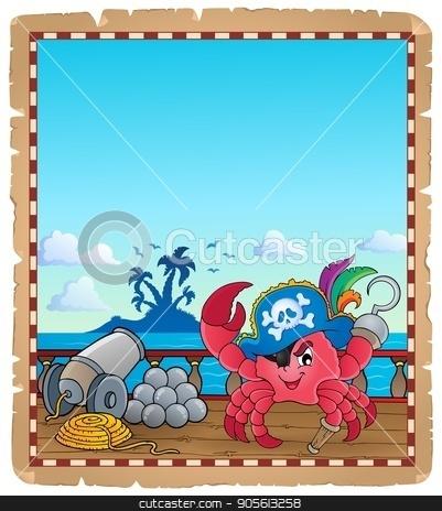 Parchment with pirate crab on ship stock vector clipart, Parchment with pirate crab on ship - eps10 vector illustration. by Klara Viskova