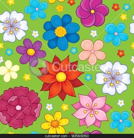 Seamless background flower theme 5 stock vector clipart, Seamless background flower theme 5 - eps10 vector illustration. by Klara Viskova