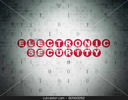 Protection concept: Electronic Security on Digital Data Paper background stock photo, Protection concept: Painted red text Electronic Security on Digital Data Paper background with Binary Code by mkabakov