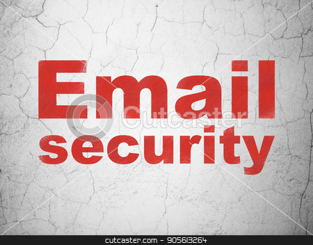 Security concept: Email Security on wall background stock photo, Security concept: Red Email Security on textured concrete wall background by mkabakov