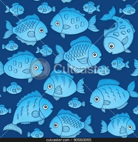 Seamless background with fish drawings 2 stock vector clipart, Seamless background with fish drawings 2 - eps10 vector illustration. by Klara Viskova