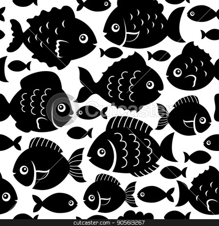 Seamless fish silhouettes theme 1 stock vector clipart, Seamless fish silhouettes theme 1 - eps10 vector illustration. by Klara Viskova