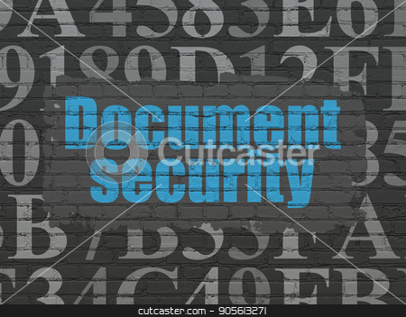 Privacy concept: Document Security on wall background stock photo, Privacy concept: Painted blue text Document Security on Black Brick wall background with  Hexadecimal Code by mkabakov