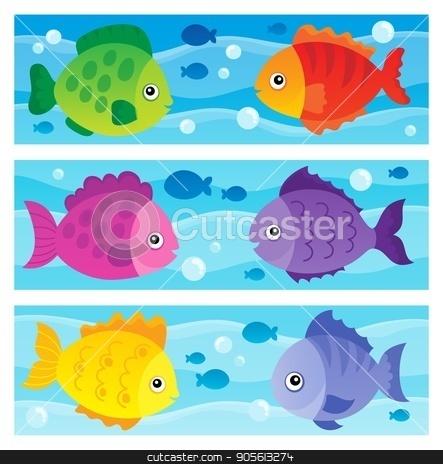 Stylized fishes topic image 1 stock vector clipart, Stylized fishes topic image 1 - eps10 vector illustration. by Klara Viskova