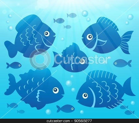 Water and fish silhouettes image 2 stock vector clipart, Water and fish silhouettes image 2 - eps10 vector illustration. by Klara Viskova