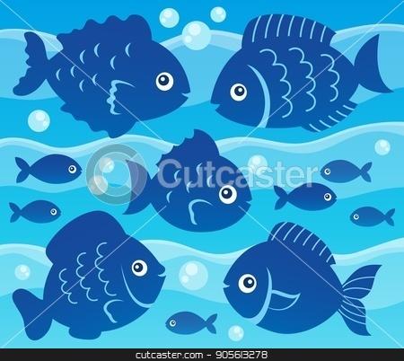 Water and fish silhouettes image 3 stock vector clipart, Water and fish silhouettes image 3 - eps10 vector illustration. by Klara Viskova