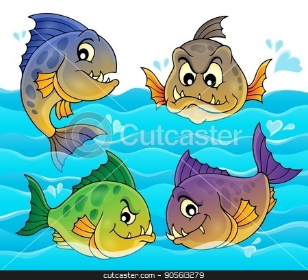 Water and four piranhas stock vector clipart, Water and four piranhas - eps10 vector illustration. by Klara Viskova