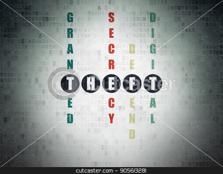 Privacy concept: Theft in Crossword Puzzle stock photo, Privacy concept: Painted black word Theft in solving Crossword Puzzle on Digital Data Paper background by mkabakov