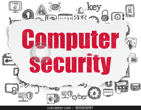 Safety concept: Computer Security on Torn Paper background stock photo, Safety concept: Painted red text Computer Security on Torn Paper background with  Hand Drawn Security Icons by mkabakov