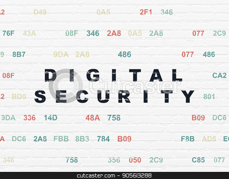 Safety concept: Digital Security on wall background stock photo, Safety concept: Painted black text Digital Security on White Brick wall background with Hexadecimal Code by mkabakov