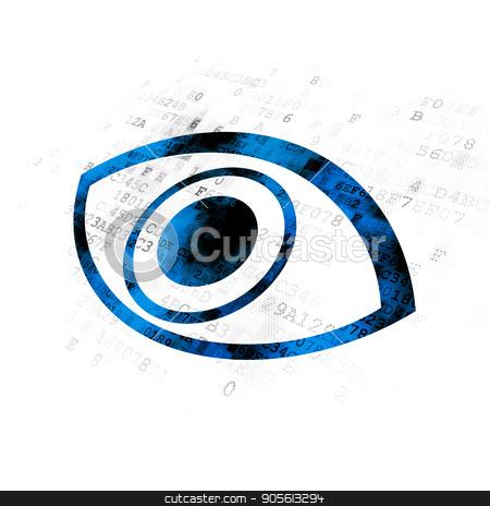 Safety concept: Eye on Digital background stock photo, Safety concept: Pixelated blue Eye icon on Digital background by mkabakov