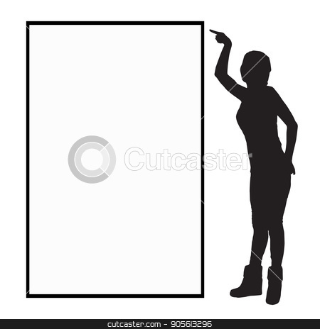 A frame with a place under the text monochrome stock vector clipart, A frame with a place under the text monochrome. Girl on a white background with a silhouette frame indicating full growth. Illustration, vector for your design by Kseniia