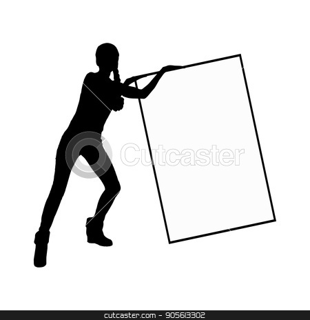 A frame with a place under the text monochrome stock vector clipart, A frame with a place under the text monochrome. Girl on white background with frame silhouette hold in diagonal. Illustration, vector for your design by Kseniia