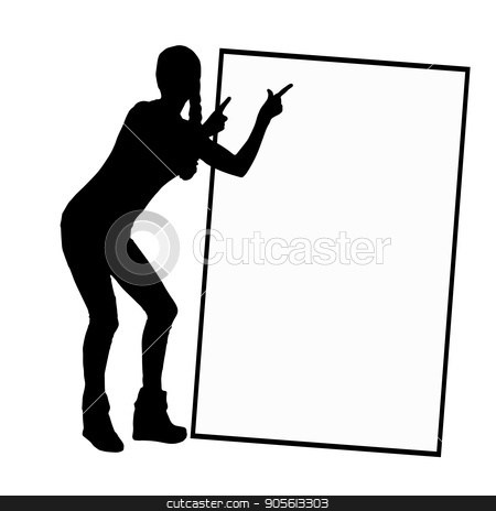 A frame with a place under the text monochrome stock vector clipart, A frame with a place under the text monochrome. Girl on a white background with a silhouette frame indicates. Illustration, vector for your design by Kseniia