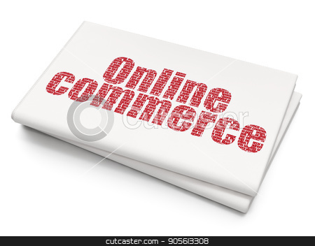 Business concept: Online Commerce on Blank Newspaper background stock photo, Business concept: Pixelated red text Online Commerce on Blank Newspaper background, 3D rendering by mkabakov
