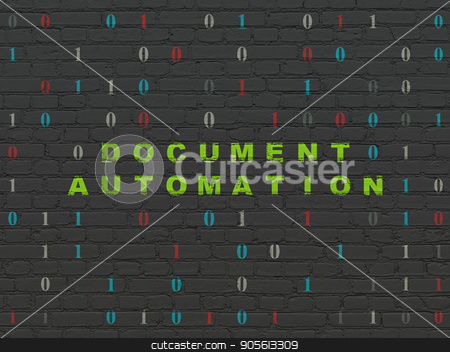 Business concept: Document Automation on wall background stock photo, Business concept: Painted green text Document Automation on Black Brick wall background with Binary Code by mkabakov