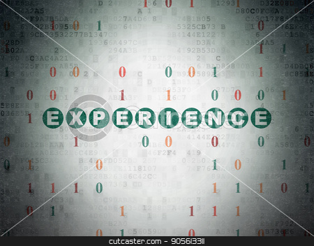 Business concept: Experience on Digital Data Paper background stock photo, Business concept: Painted green text Experience on Digital Data Paper background with Binary Code by mkabakov