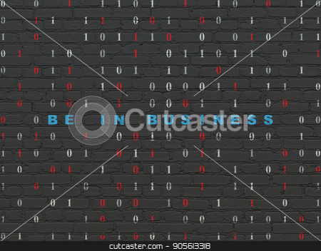 Finance concept: Be in business on wall background stock photo, Finance concept: Painted blue text Be in business on Black Brick wall background with Binary Code by mkabakov