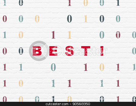 Business concept: Best! on wall background stock photo, Business concept: Painted red text Best! on White Brick wall background with Binary Code by mkabakov