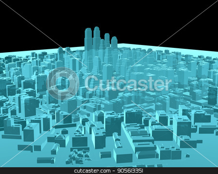 X-Ray Image Of Modern City on Black stock photo, X-Ray Image Of Modern City on Black. 3D rendering by cherezoff
