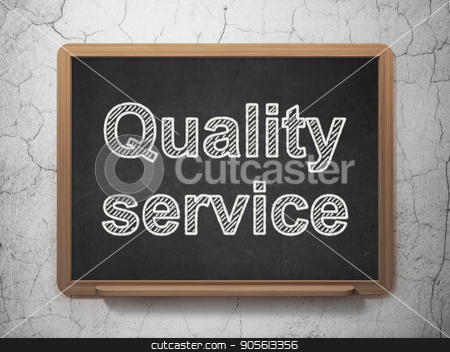 Finance concept: Quality Service on chalkboard background stock photo, Finance concept: text Quality Service on Black chalkboard on grunge wall background, 3D rendering by mkabakov