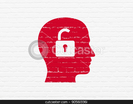 Finance concept: Head With Padlock on wall background stock photo, Finance concept: Painted red Head With Padlock icon on White Brick wall background by mkabakov