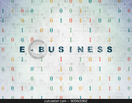 Finance concept: E-business on Digital Data Paper background stock photo, Finance concept: Painted blue text E-business on Digital Data Paper background with Binary Code by mkabakov