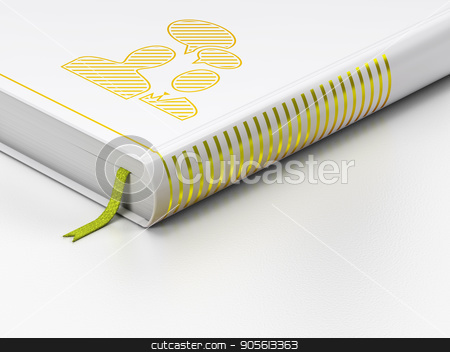 Business concept: closed book, Business Meeting on white background stock photo, Business concept: closed book with Gold Business Meeting icon on floor, white background, 3D rendering by mkabakov
