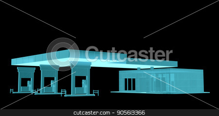 Gas Station. X-ray image stock photo, Gas Station. X-Ray image. 3d illustration. Industry concept by cherezoff