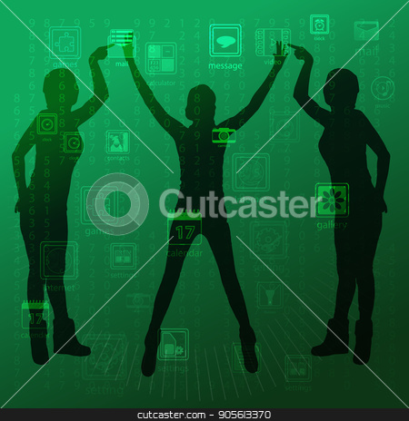 The concept of technology in one click, touch pressing stock vector clipart, The concept of technology in one click, touch pressing to manage gadgets. On a green background girls three hold their fingers and hands up. Illustration, vector for your design by Kseniia
