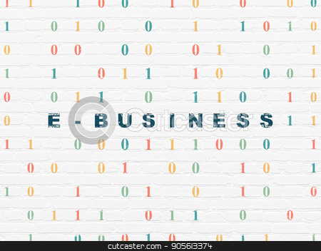 Business concept: E-business on wall background stock photo, Business concept: Painted blue text E-business on White Brick wall background with Binary Code by mkabakov
