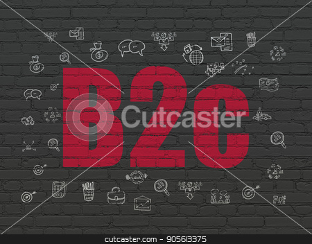 Business concept: B2c on wall background stock photo, Business concept: Painted red text B2c on Black Brick wall background with  Hand Drawn Business Icons by mkabakov