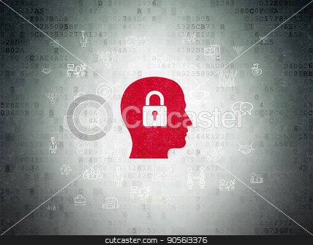 Business concept: Head With Padlock on Digital Data Paper background stock photo, Business concept: Painted red Head With Padlock icon on Digital Data Paper background with  Hand Drawn Business Icons by mkabakov