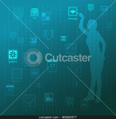 The concept of technology in one click, touch pressing to manage stock vector clipart, The concept of technology in one click, touch pressing to manage gadgets. On a blue background the girl is holding her finger. Illustration, vector for your design by Kseniia