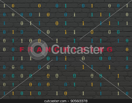 Business concept: Franchising on wall background stock photo, Business concept: Painted red text Franchising on Black Brick wall background with Binary Code by mkabakov