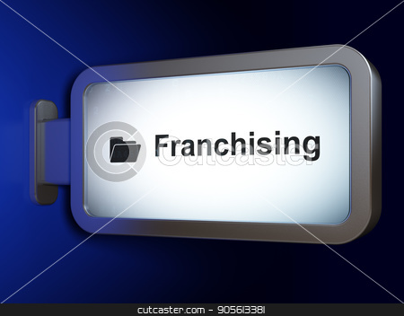Finance concept: Franchising and Folder on billboard background stock photo, Finance concept: Franchising and Folder on advertising billboard background, 3D rendering by mkabakov